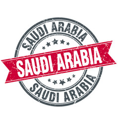 Saudi arabia red round grunge vintage ribbon stamp vector