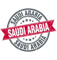 Saudi arabia red round grunge vintage ribbon stamp vector