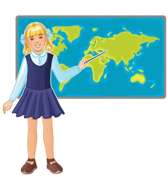 Schoolgirl at map of the world eps10 vector image vector image