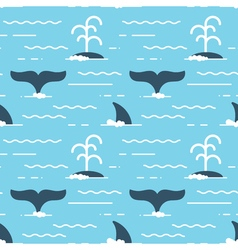 Seamless pattern with whale fins over the water vector