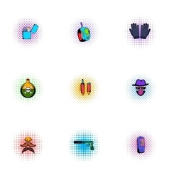 Search illegal action icons set pop-art style vector