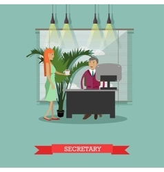 Secretary with cup of coffee vector image
