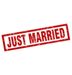 Square grunge red just married stamp vector