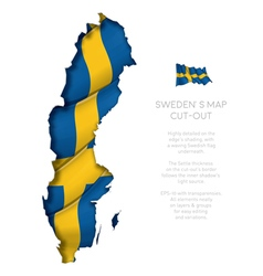 Sweden Map Cut Out with Waving Flag vector image vector image