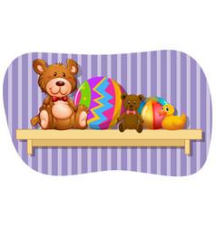 Teddybears and balls on wooden shelf vector