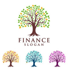 tree finance logo eco green logo vector image vector image