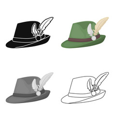 Tyrolean hat icon in cartoon style isolated on vector