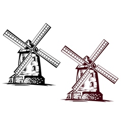 Windmill building vector