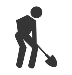 Worker with tools working pictogram design vector image