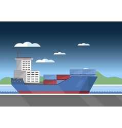 Cargo vessel icon vector