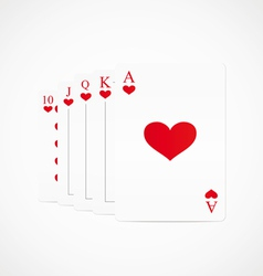 Royal straight flush hearts vector