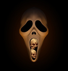 Spooky halloween mask with small human skull in vector