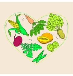 Vegetable and fruit food health care heart shape vector