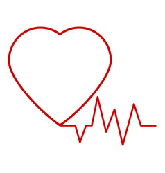 Red heart icon with sign heartbeat vector
