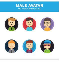 Male avatar icons vector