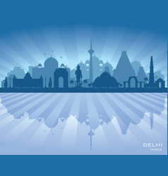 delhi india city skyline silhouette vector image