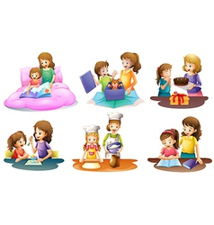 A mother and daughter bonding moments vector image