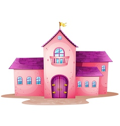 A pink castle vector image