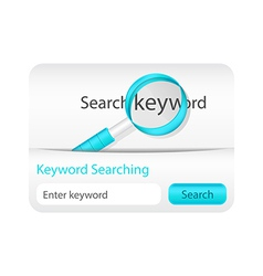 Keyword searching website element with magnifying vector
