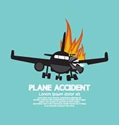Doomed plane accident on fire vector