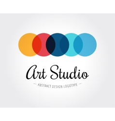 Abstract art studio logo template for vector