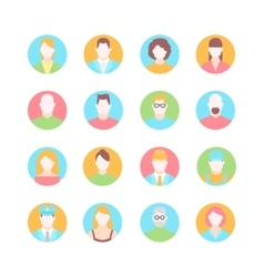 Male and female faces avatars flat icons vector