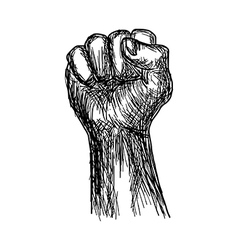 Handdrawn of fist stylized revolution concept vector