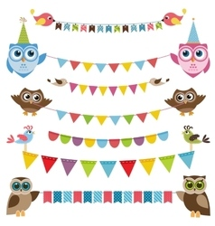 Garland and bunting set with birds vector