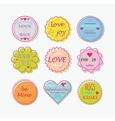 Valentines day colorful line emblem set vector