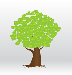 A tree growing money in the form of dollar notes vector
