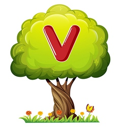 A tree with a letter V vector image vector image