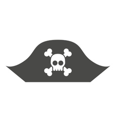 Alert skull in hat pirate isolated icon design vector