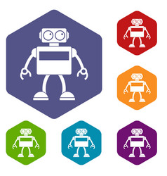 Android robot icons set hexagon vector