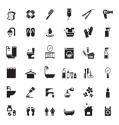 Bathroom icons set vector image