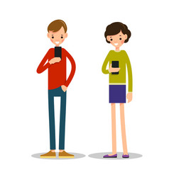 boy and girl with mobile phone vector image vector image