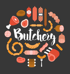 butchery product icon such as sausage vector image