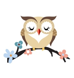 Cartoon owl on a flowering tree branch vector image vector image