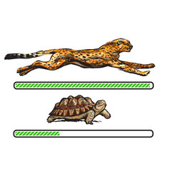 Cheetah and turtle fast and slow loading bar vector