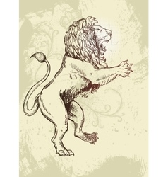 Figure lion Doodle style grunzhe and plant vector image