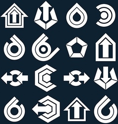 flat abstract icons set simple corporate graphic vector image