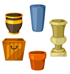 garden pots set of various color flowerpots vector image