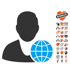 global manager icon with valentine bonus vector image vector image