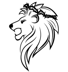 heraldic lion with thorny wreath vector image
