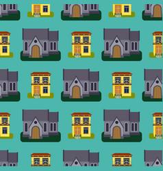 Historical city modern world seamless pattern vector