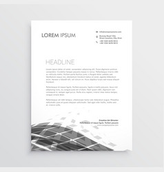 Letterhead design with abstract black wave effect vector