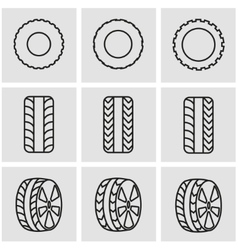 line tire icon set vector image vector image
