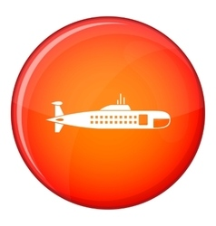 Military submarine icon flat style vector