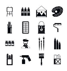 Painting icons set simple style vector