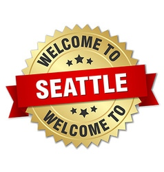 Seattle 3d gold badge with red ribbon vector