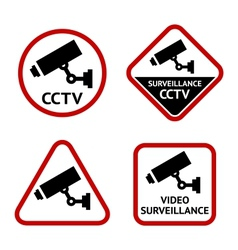Security camera set stickers vector image